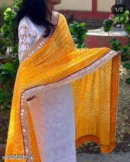 New Awosome Quality Attractive Beautiful Rajasthani  Stylish Heavy Art Silk Bandhej  Bandhani Printed Gota Lace Work  Dupatta (2.25) Meter With 2 Latkans For Beautiful Women's & Girl's
