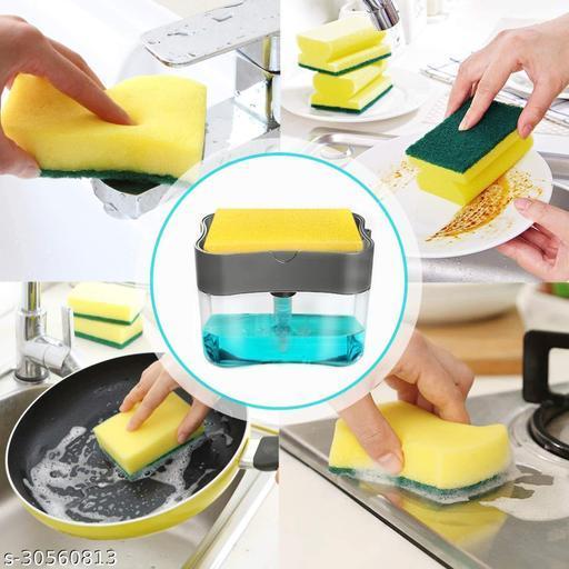 2 in 1 Soap Dispenser for Dishwasher Liquid Holder , Liquid Dispenser Through Pump ( Multi-Color , 400 ML) with Sponge (Grey)