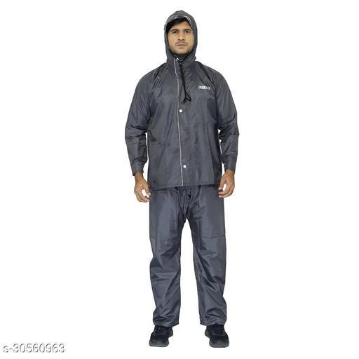 THE CLOWNFISH Men's Striped Rain Coat (OPENER-1227-XL_Grey_X-Large)