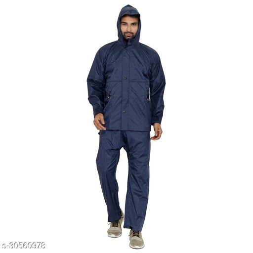 THE CLOWNFISH Seal Men's Nylon Waterproof Raincoat with Hood and Reflector Logo at Back for Night Travelling. Set of Top and Bottom (Blue, XX-Large)