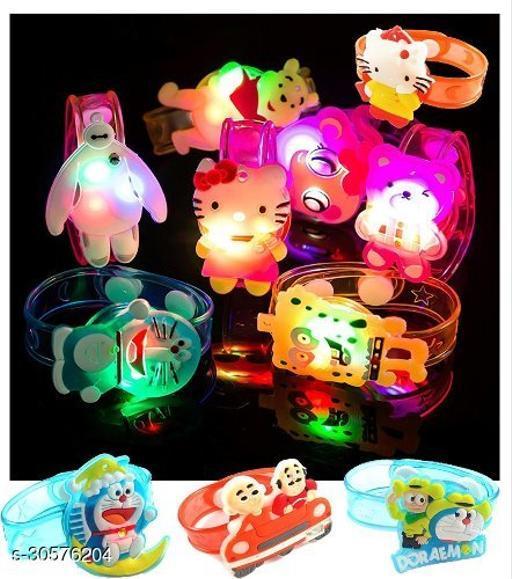 4 Pcs Cartoon Character Kids Children LED Light Rakhi Wristband Assorted Colours And Character