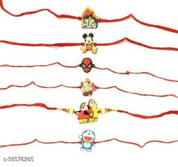 5PC MIX Cartoon Character Handmade in Wooden Material Kids Fancy Rakhi with Roli Chawal Tilak Pack (PACKE OF 5)