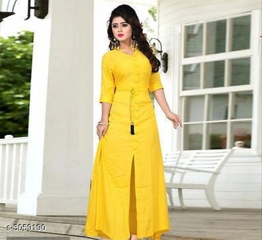 Women Rayon High- Slit Solid Yellow Kurti