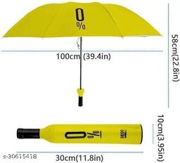 Bottle Umbrella - Windproof UV and Rain Protection Double Layer Folding Portable Unisex Umbrella with Bottle Cover(Yellow)