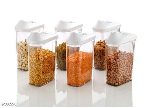 Plastic Easy Flow Storage Jar Dispenser Set, Transparent, 750 ml (Pack of 6)