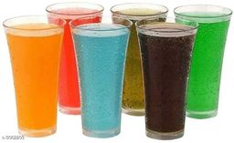 Plastic Unbreakable Glass Transparent Drinking Glass Or Tumbler Set (Pack of 6) for Water/Juices/Soft Drinks (Glass)
