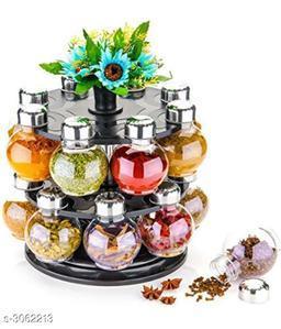 Designer Multipurpose Revolving Plastic Spice Rack 16 Piece Condiment Set, 300ml, Siver Finish, Clear