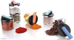 Specific Spice jar - 250 ml Plastic Spice Container | Fridge Container | Utility Box | Tea Coffee & Sugar Container (Pack of 6, Multicolor)
