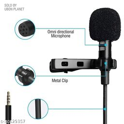 Tornado Lapel Collar Mic Voice Recording Filter Microphone for Singing Youtube SmartPhones, Black 1 Mtr Mtr