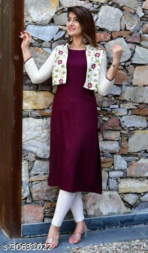 Women Rayon Maroon Kurti and Embroidered Jacket