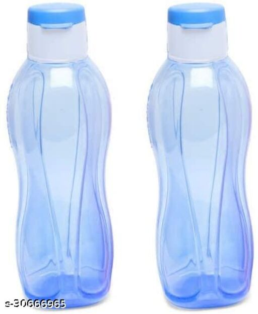 Kitchen4U Plastic Water Bottle Set with Flip Cap (Set of Two, 1L, Color May Vary)