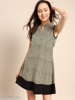 Aks beige striped shift dress