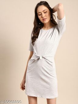 Aks Grey front knotted dress