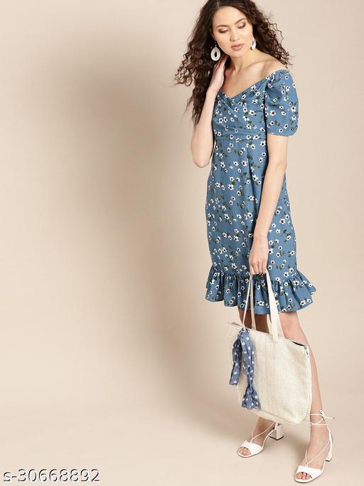 Blue printed pleated off-shoulder dress