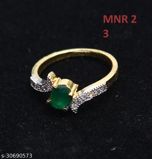 Ethnic Design Clutster Style Ring Oval Emerald,Cubic Zircon Green-White Unique Gold Plated Latest Fashion Jewellery for Girls Ladies Women MNR 2-GREEN