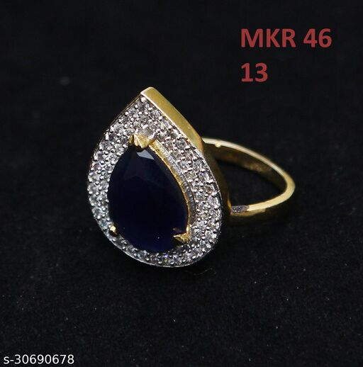 Latest Design Polki Ring Pear Blue Sapphire, Cubic Zircon, Ruby Black-White Intricately Handcrafted in Gold Plated Designer Jewellery for Girls Ladies Women MKR 46-BLUE