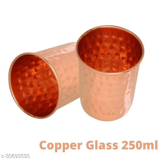 Pure Copper Hammered Glass Set Of 2