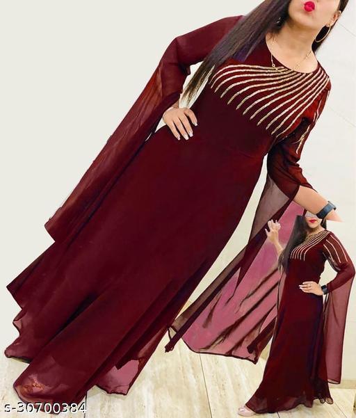 Women's Maroon Colour Party Wear Georgatte Sensational Women Gowns