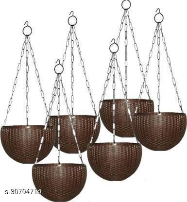 """MorningVale 6"""" Woven Design Hanging Euro Basket Planters for Indoor/Outdoor with Hanging Chain, Brown (Pack of 6)"""