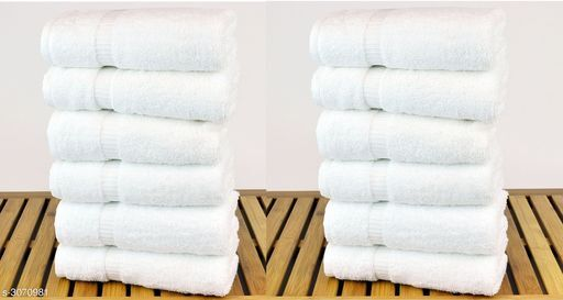 Cotton White Hand Towels Set of 12