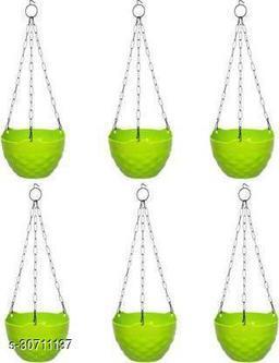MorningVale Plastic Diamond Hanging Pot, Green, 8 in, 6 Pieces