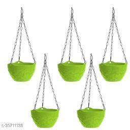 MorningVale Plastic Diamond Hanging Pot, Green, 8 in, 5 Pieces