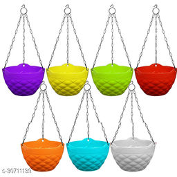 MorningVale Plastic Diamond Hanging Pot, Multicolour, 8 in, 7 Pieces