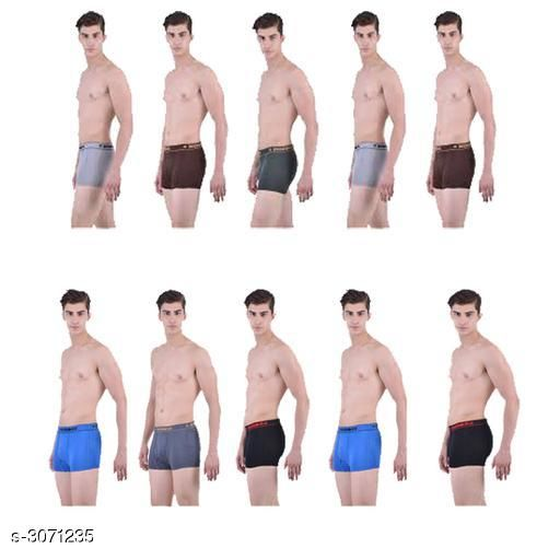 Trunks Comfy Men's Cotton Solid Trunks (Pack Of 10 )  *Fabric* Cotton  *Size* M - 85 cm, L - 90 cm  *Length* Up To 15 in         *Type* Stitched  *Description* It Has 10 Pieces Of Men's Trunk  *Pattern* Solid  *Sizes Available* M, L, XL, XXL *    Catalog Name: Trendy Men's Cotton Solid Trunks Combo Vol 20 CatalogID_420535 C68-SC1216 Code: 269-3071235-