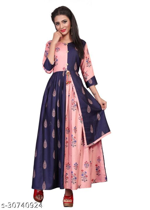 Trendy Women's Peach And Navy Blue Colored poly rayon Printed Gowen