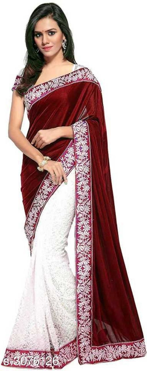 Sarees Fabulous Velvet Women's Sarees  *Fabric* Saree - Velvet , Blouse - Velvet  *Size* Saree Length - 5.5 Mtr, Blouse Length - 0.8 Mtr  *Work* Embroidered  *Sizes Available* Free Size *    Catalog Name: Fabulous Velvet Women's Sarees CatalogID_421300 C74-SC1004 Code: 674-3076126-