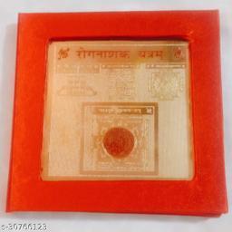 KESAR ZEMS ENERGIESED Gold Plated SREE ROG NASHAK Yantra(7.5 X 7.5 X 0.01 CM) Golden.