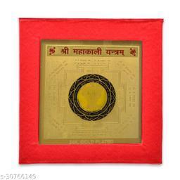 KESAR ZEMS  Energiesed Gold Plated Sree Mahakali Yantra(7.5 X 7.5 X 0.01 CM) Golden.