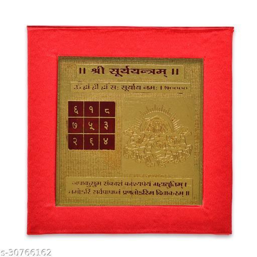 KESAR ZEMS ENERGIESED Gold Plated SREE Surya Yantra(7.5 X 7.5 X 0.01 CM) Golden