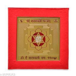 KESAR ZEMS ENERGIESED Gold Plated SREE Saraswati Yantra(7.5 X 7.5 X 0.01 CM) Golden.