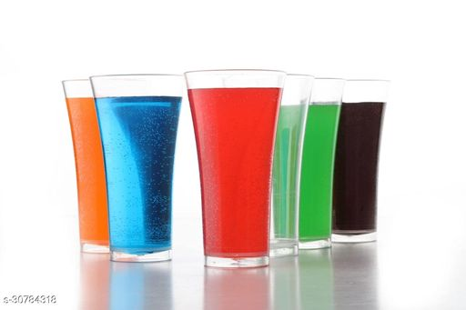 NIEBLA Stylish Juicy Glass for Juice, Wine, Beer and Soda Glass with Full Transperent & Clear Plastic Glass 300ML Set of 6 Pcs.
