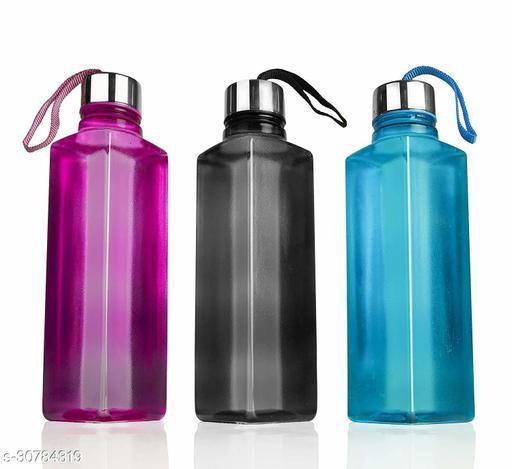 NIEBLA Square Shape Water bottle Set For Fridge,Office,Gym Set OF 3 1000 ml Bottle (Pack of 3, Multicolor, Plastic, Steel)