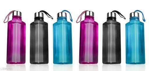 NIEBLA Square Shape Water bottle Set For Fridge,Office,Gym Set OF 6 1000 ml Bottle (Pack of 6, Multicolor, Plastic, Steel)