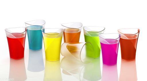 NIEBLA Smart 8 Pcs Plastic Unbreakable Stylish Transparent Water Glass/Juice Glass/Beer Glass/Wine Glass Plastic Glass Set ( 250 ML, Pack of 6)