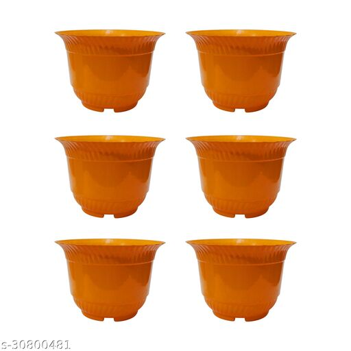 Garden Plastic Gamla/Planter/Pot with Bottom Plate, 9.5-inch -Pack of 6