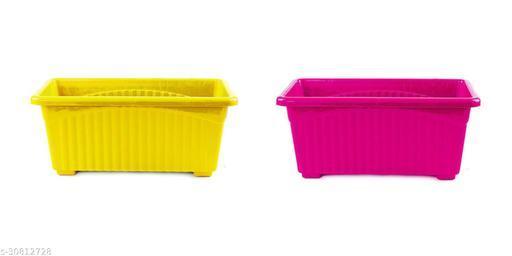 Plastic Plastic Rectangular Flower pots Multicolour 14 inch Pack Of  2