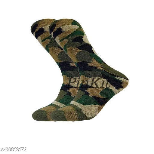 Ekshi Men's Organic High Quality Army Patterned  Cotton Odour-Free Socks (Multicolour, 1 Pair)