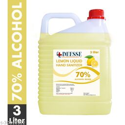 DEESSE Lemon Liquid 70% Alcohol Based (Kills 99.99% Germs & Flu Viruses) Without Water with triple action formula sanitizes hands, pH balanced, nourishes skin Can 3 Liters Can Can (3 L) Hand Sanitizer Can(3000 ml)