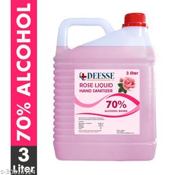 DEESSE Rose Liquid 70% Alcohol Based (Kills 99.99% Germs & Flu Viruses) Without Water with triple action formula sanitizes hands, pH balanced, nourishes skin Can 3 Liters Can Can (3 L) Hand Sanitizer Can(3000 ml)