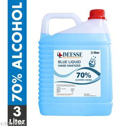 DEESSE Blue Liquid 70% Alcohol Based (Kills 99.99% Germs & Flu Viruses) Without Water with triple action formula sanitizes hands, pH balanced, nourishes skin Can 3 Liters Can Can (3 L) Hand Sanitizer Can(3000 ml)
