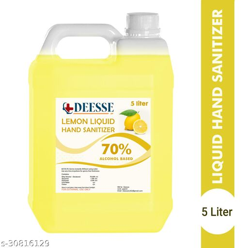 DEESSE Lemon Liquid 70% Alcohol Based (Kills 99.99% Germs & Flu Viruses) Without Water with triple action formula sanitizes hands, pH balanced, nourishes skin Can 5 Liters Can Can (5 L) Hand Sanitizer Can(5000 ml)
