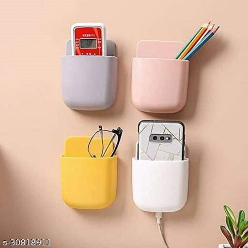 4 PCs Wall Mounted Storage Case For Remote, Toothbrush, Mobile Phone Plug Holder