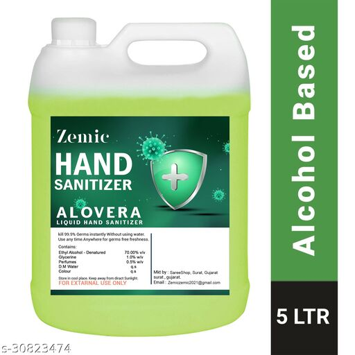 ZEMIC Alovera Liquid 70% Alcohol Based (Kills 99.99% Germs & Flu Viruses) Without Water with triple action formula sanitizes hands, pH balanced, nourishes skin Can 5 Liters Can Can (5 L) Hand Sanitizer Can(5000 ml)