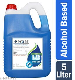 PYXBE Blue Liquid 70% Alcohol Based (Kills 99.99% Germs & Flu Viruses) Without Water with triple action formula sanitizes hands, pH balanced, nourishes skin Can 5 Liters Can Can (5 L) Hand Sanitizer Can(5000 ml)
