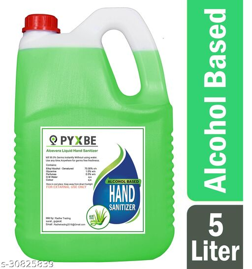 PYXBE Alovera Liquid 70% Alcohol Based (Kills 99.99% Germs & Flu Viruses) Without Water with triple action formula sanitizes hands, pH balanced, nourishes skin Can 5 Liters Can Can (5 L) Hand Sanitizer Can(5000 ml)