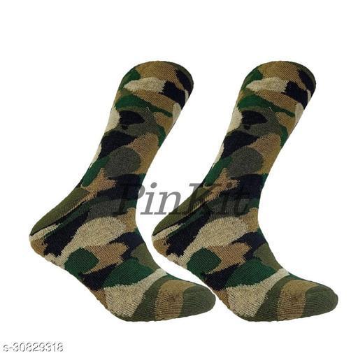 Ekshi Men's Organic High Quality Army Patterned  Cotton Odour-Free Socks (Multicolour, 2 Pair)